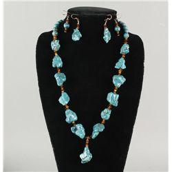 Turquoise and Amber Nugget Necklace