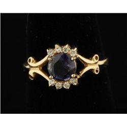 14K Iolite & Diamond Ring