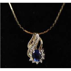 10K Sapphire and Diamond Pendant and Chain