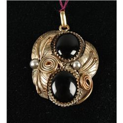 Onyx 12K Gold Filled and Sterling Pendant