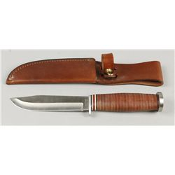 Western Knife with Stacked Leather Handle