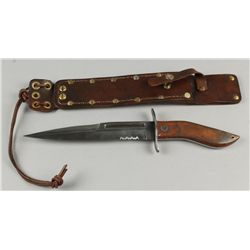 Handmade Fighting Knife with Curved Leather Handle