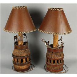 Western Wagon Wheel Hub Table Lamps