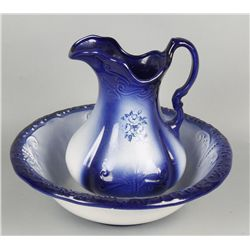 Blue and White Wash Basin and Pitcher