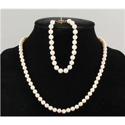 Pearl Necklace and Bracelet Set with 14K Clasp