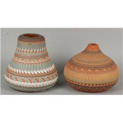 2 Incised Carved Navajo Pots by J. Watson