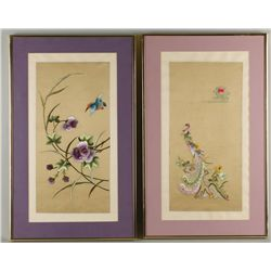Two Asian Silk Thread Embroideries