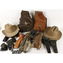 Large Lot of Western Hats and Leather