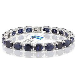 Fine 33CT 7x9mm Sapphire 0.925 Silver Bracelet
