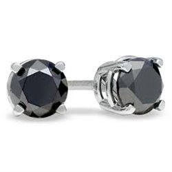 2CT BLACK DIAMOND 0.925 SILVER EARRINGS