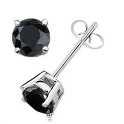 1.5CT BLACK DIAMOND 0.925 SILVER EARRINGS