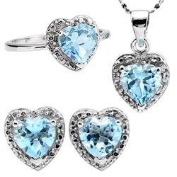 Heart Shape Sky Blue Jewelry Set In 0.925 Silver