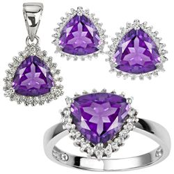 Trillion Amethyst Jewelry Set In 0.925 Silver
