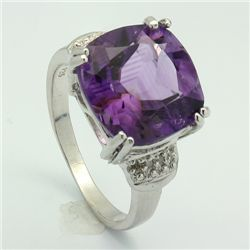PRONG SET 12MM CUSHION AMETHYST   SILVER RING