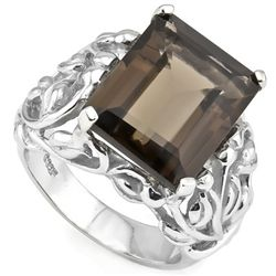 12CT SMOKEY TOPAZ 0.925  SILVER W/ PLATINUM RING