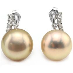 12MM ROUND FRESH WATER PEARLWITH SILVER EARRINGS