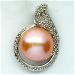 LAVISH ROUND 12MM PEARL PENDANT IN 0.925 SILVER