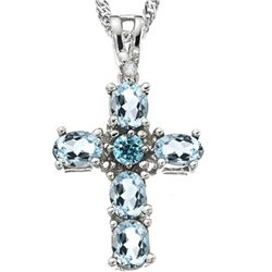 STUNNING CROSS AQUAMARINE & DIAMOND  SILVER PENDANT