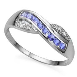 GENUINE TANZANITE & DIAMOND 0.925  SILVER RING