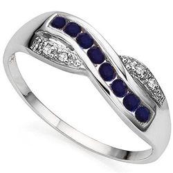 GENUINE SAPPHIRE & DIAMOND 0.925  SILVER RING
