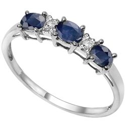 LOVELY SAPPHIRE & DIAMOND 0.925 SILVER RING