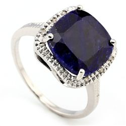 12MM CUSHION SAPPHIRE & DIAMOND 0.925 SILVER RING