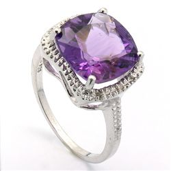 12MM CUSHION AMETHYST& DIAMOND 0.925 SILVER RING