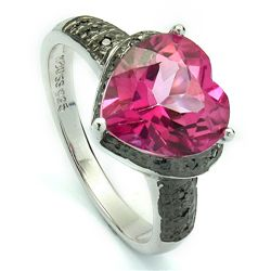 LUXURIOUS HEART PINK TOPAZ, DIAMOND SILVER RING