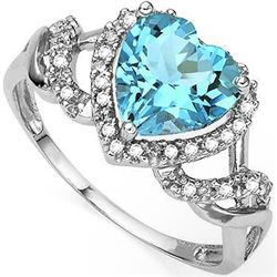 8mm HEART SHAPE BLUE TOPAZ & DIAMOND SILVER RING