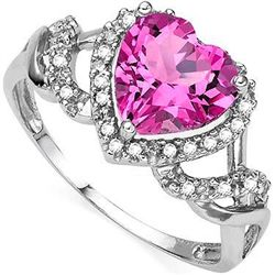 8mm HEART SHAPE PINK TOPAZ & DIAMOND SILVER RING