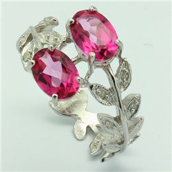 FLORAL PINK TOPAZ & DIAMOND SILVER RING