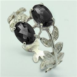 SPLENDID 2CT BLACK SAPPHIRE & DIAMOND SILVER RING