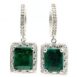 ELITE 6CT OCTAGON EMERALD & DIAMOND EARRINGS