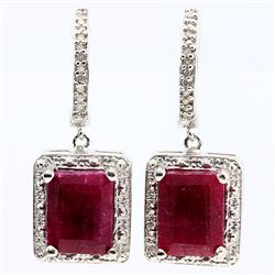 ELEGANT 6CT OCTAGON INDIAN RUBY & DIAMOND EARRINGS