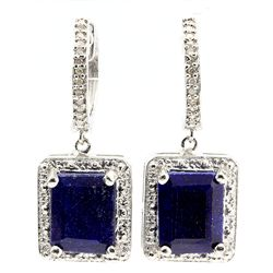 PERFECT 6CT OCTAGON SAPPHIRE & 24-DIAMOND EARRINGS