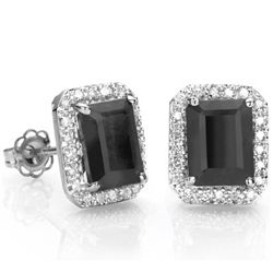 3CT BLACK SAPPHIRE DIAMOND ACCENT SILVER EARRINGS