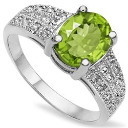 7X9MM OVAL PERIDOT & DIAMOND ACCENT SILVER RING