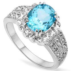 7X9MM BLUE TOPAZ WITH DIAMOND ACCENTS SILVER RING