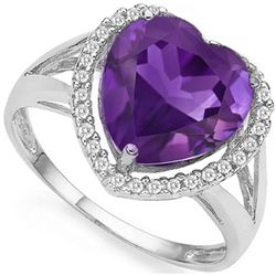 BIG 10MM HEART AMETHYST, DIAMOND ACCENT SILVER RING