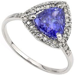 NICE 7MM TRILLION GENUINE TANZANITE & 10K GOLD RING