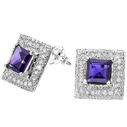 5MM SQUARE TANZANITE & DIAMOND IN 10K GOLD EARRINGS