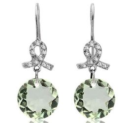 10MM ROUND GREEN AMETHYST DANGLING GOLD EARRINGS