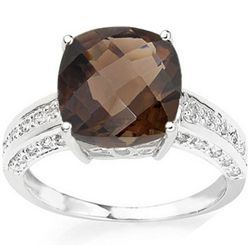 12MM CUSHION SMOKY TOPAZ & DIAMOND IN 10K GOLD RING