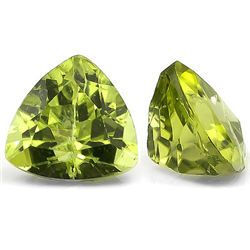 EXQUISITE  2PCS TRILLION TW 1.58CT GREEN PERIDOT LOOSE GEMSTONE