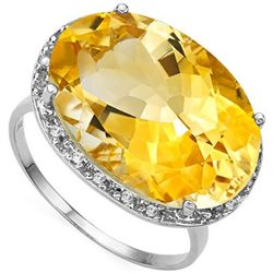 MESMERIZING 11.65 CT CITRINE & 18 PCS WHITE DIAMOND 10K SOLID WHITE GOLD RING