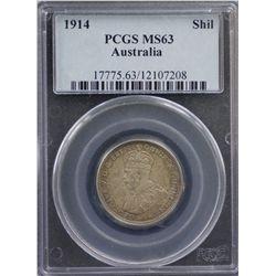 1914 Shilling PCGS MS63