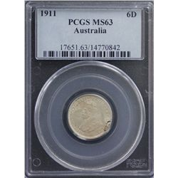 1911 Sixpence PCGS MS63