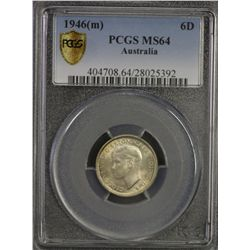 1946 Sixpence PCGS MS64