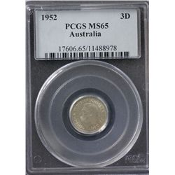1952 Threepence PCGS MS65