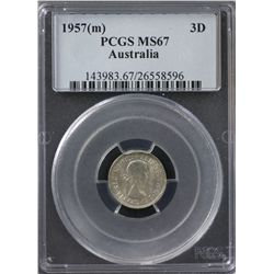 1957 Threepence PCGS MS67